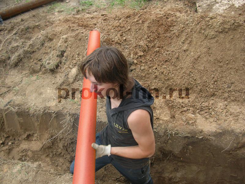Прокладка канализации в земле